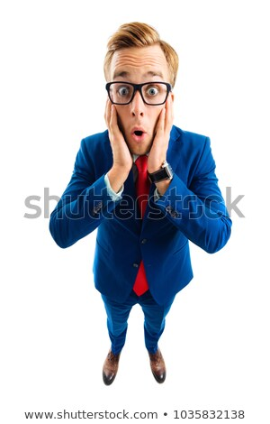 Very surprised man in a suit, isolated on white stock photo © pzaxe