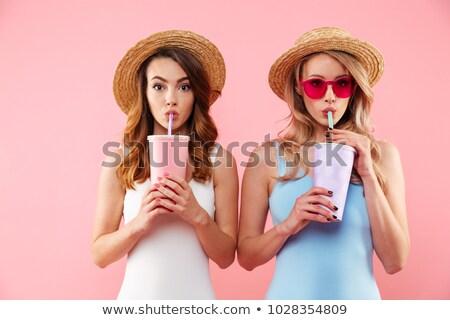 hoed · meisje · water · Maakt · een · reservekopie · naakt · blond - stockfoto © dolgachov