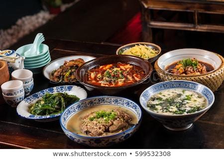 Chinese keuken varkens chili pot restaurant Stockfoto © raywoo