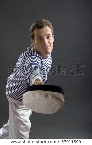 Fiatal matróz férfi fehér kalap öltöny Stock fotó © Photoline