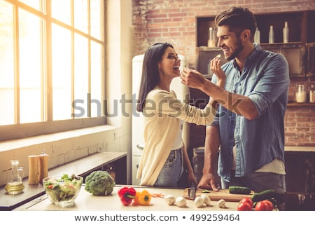 In-love couple in kitchen Stock photo © photography33