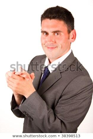 Magas kilátás üzletember tapsol fehér mosolyog Stock fotó © wavebreak_media
