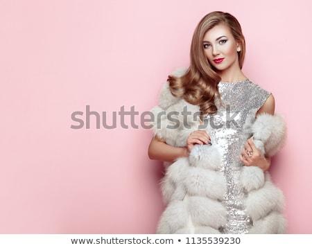 красивой · молодые · блондинка · белый · шуба · портрет - Сток-фото © acidgrey