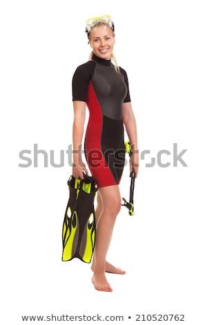 standing young woman wearing neoprene Stock photo © phbcz