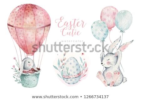 iyi · paskalyalar · tavşan · tavşan · ayarlamak · afişler · vektör - stok fotoğraf © cienpies