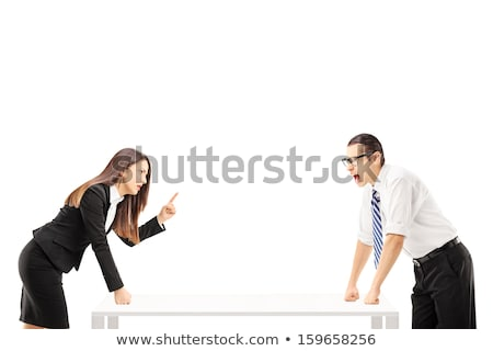 businessman fighting with businesswoman on white background stock photo © forgiss