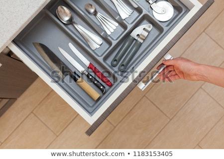 installation · cuisine · tiroir · placard · bois · blanche - photo stock © abbphoto