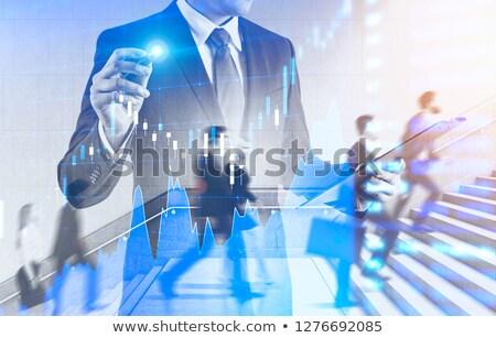 ビジネスマン クリップボード グラフ ホログラム 白 ストックフォト © wavebreak_media