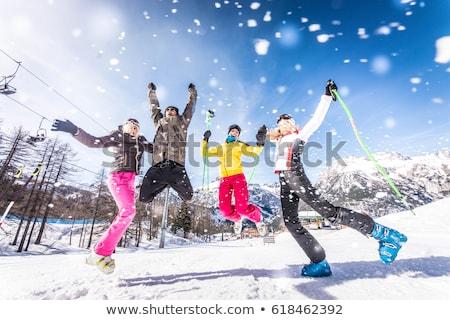 肖像 · 友達 · スキー · 休日 · 一緒に · 空 - ストックフォト © photography33
