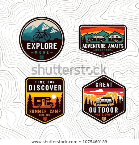 hegy · jelvények · szett · kaland · expedíció · tűz - stock fotó © mikemcd