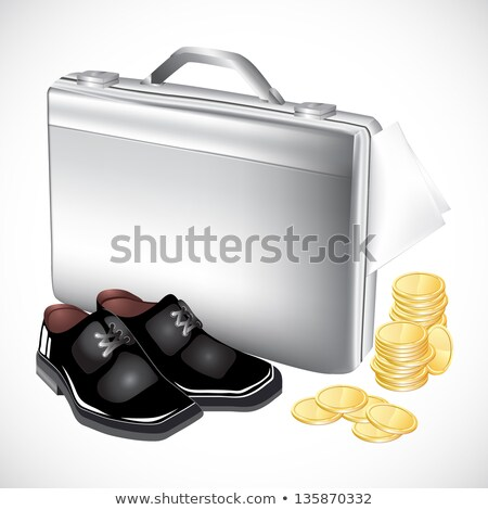 silver briefcase with boots and coins stock photo © elmiko