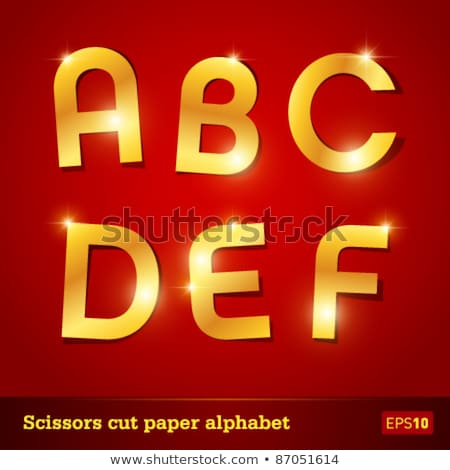 vector set letters cut of golden foil stock photo © alexmakarova