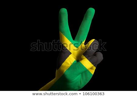 Jamaika bayrak iki parmak yukarı jest Stok fotoğraf © vepar5