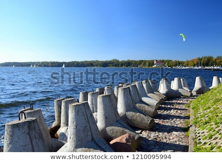 beautiful structures lines at the beach with arrangement of leaves stones in harmonic way gives an stock photo © meinzahn