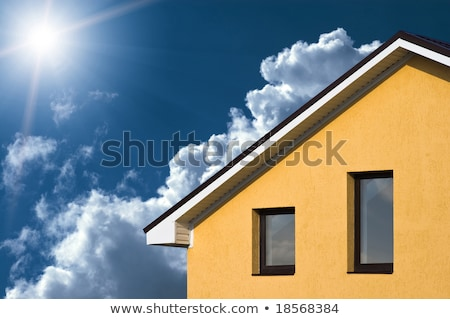 absztrakt · ház · kék · égbolt · építkezés · fal - stock fotó © meinzahn