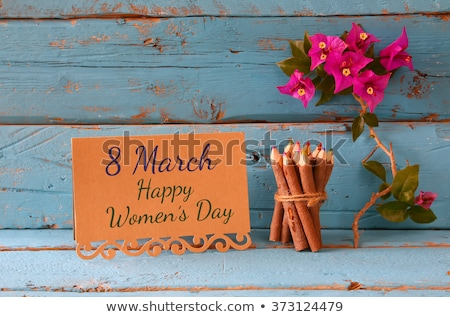 Greeting card with text 8th March Happy Women's Day presentation Stock photo © bharat
