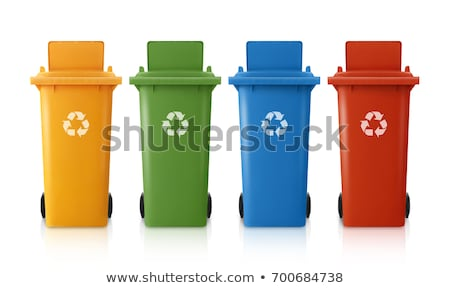 red blue and yellow green garbage bin stock photo © compuinfoto