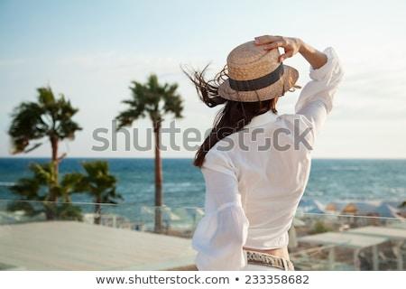 Aranyos karcsú fiatal nő zöld haj pszichedelikus Stock fotó © stryjek