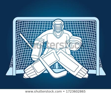 jégkorong · játékos · kaukázusi · sportoló · játszik · egyenruha - stock fotó © leonido