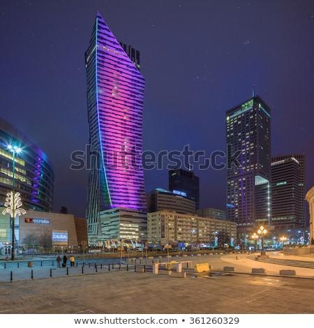Warschau zakenwijk namiddag zon luchtfoto wolken Stockfoto © filipw