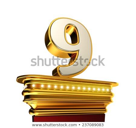 Numara dokuz altın beyaz parlak Stok fotoğraf © creisinger