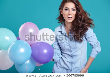 beauty smile woman with balloon stock photo © arturkurjan