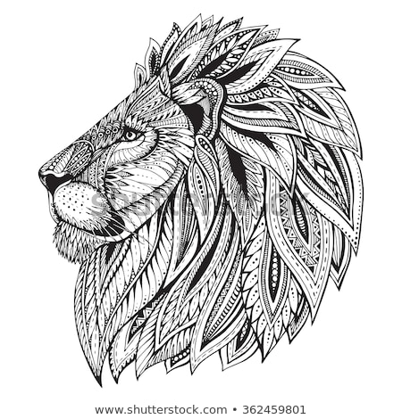 lion head with ethnic ornament stock photo © ulyankin