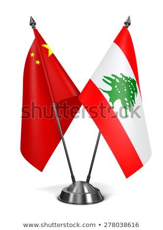 China Libanon miniatuur vlaggen geïsoleerd witte Stockfoto © tashatuvango