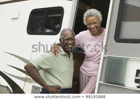 Paar glücklich Gesichter schließen Lächeln Stock foto © lubavnel