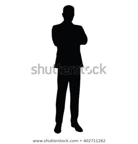 Ernstig zakenman permanente armen gevouwen witte Stockfoto © wavebreak_media