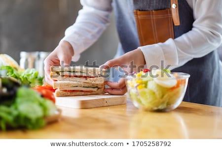 Sandwich cuisson pain tomate planche à découper alimentaire Photo stock © bendzhik