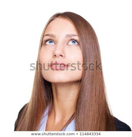 Portret peinzend zakenvrouw geïsoleerd witte Stockfoto © deandrobot