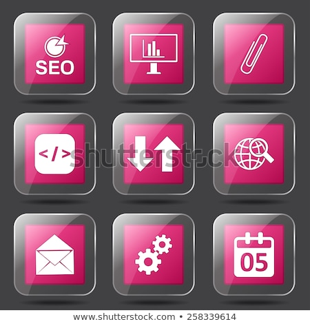 SEO Internet Sign Square Vector Pink Icon Design Set 6 Stock photo © rizwanali3d
