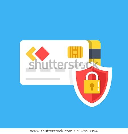 Biztonságos tranzakció piros vektor ikon terv Stock fotó © rizwanali3d