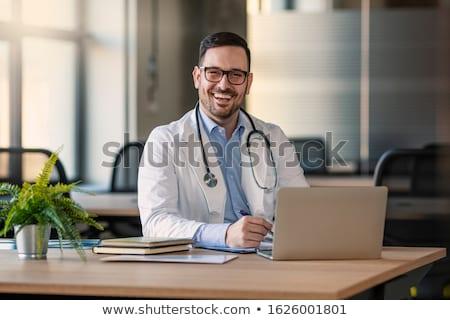 feliz · médico · sessão · secretária · maçã - foto stock © wavebreak_media
