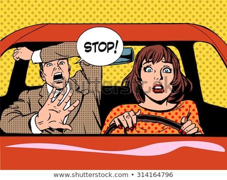 Nő sofőr vezetés iskola pánik higgadt Stock fotó © studiostoks