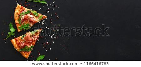 pizza · prosciutto · mozzarella · mesa · de · madera · superior · vista - foto stock © digifoodstock
