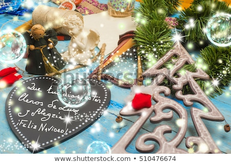 christmas rustic decoration postalcard stock photo © marimorena
