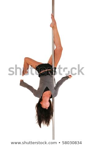 Gyönyörű fiatal nő testmozgás rúdtánc fehér stúdiófelvétel Stock fotó © kasjato