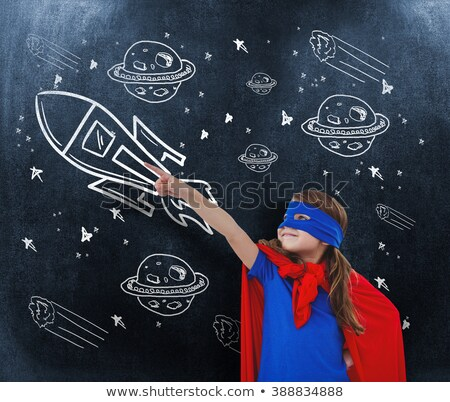 Composite image of masked girl pretending to be superhero Stock photo © wavebreak_media