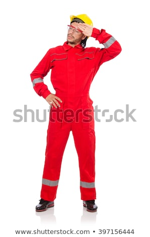 Man wearing red coveralls isolated on white Stock photo © Elnur