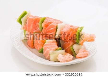 Nyers hal nyárs tányér étel paradicsom Stock fotó © Digifoodstock