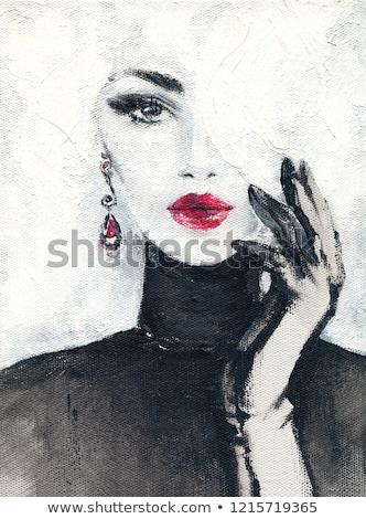 レトロスタイル · 美しい · 女性 · ドレス · ベレー帽 · 映画 - ストックフォト © svetography