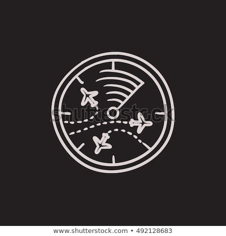 Radar schermo aerei sketch icona vettore Foto d'archivio © RAStudio