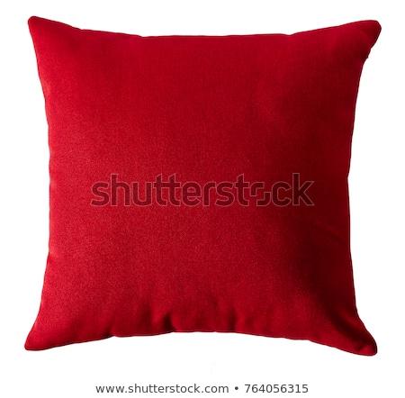 Vermelho travesseiro preto couro sofá Foto stock © tdoes