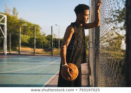 jungen · sportlich · Mann · stehen · Ball - stock foto © deandrobot