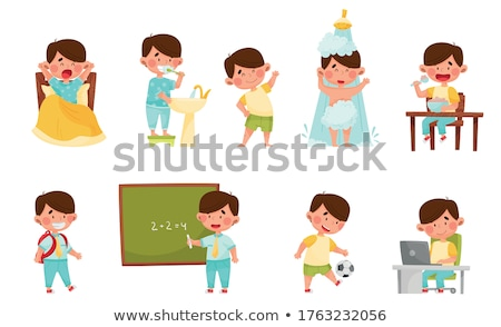 Boy doing his morning routine vector illustration Stock photo © maia3000