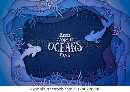 Dia da terra água conservação papel cortar bandeira Foto stock © cienpies