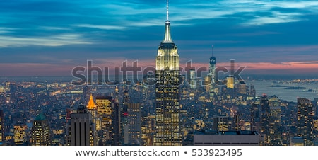 Stockfoto: Nieuwe · Manhattan · zonsondergang · business · hemel