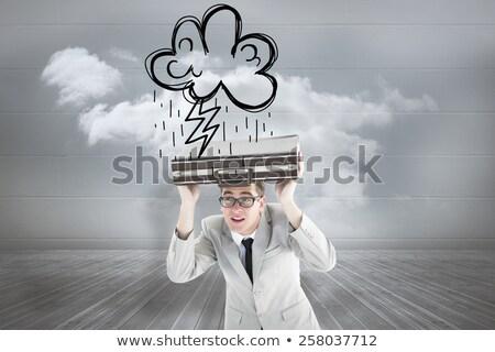 Caucasian businessman with lightning over his head Stock photo © RAStudio